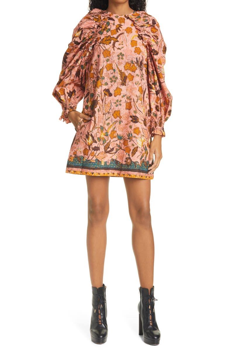 ULLA JOHNSON Devya Floral Long Balloon Sleeve Shift Dress, Main, color, BLUSH FLORAL