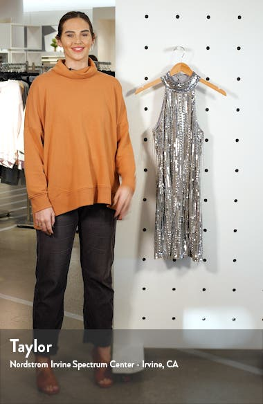 Sequin Fringe Halter Minidress, sales video thumbnail