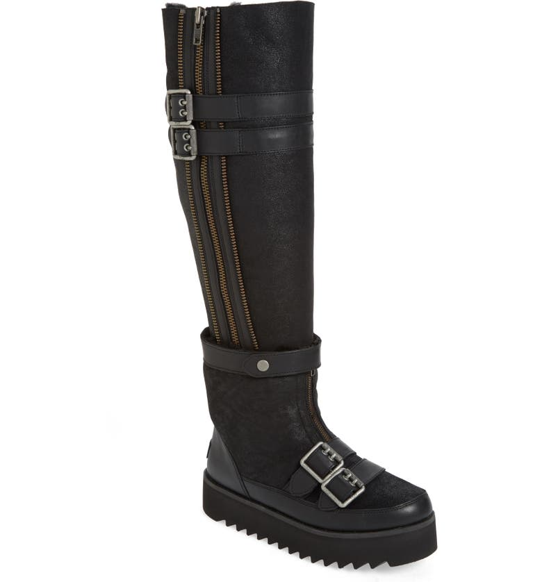 UGG<SUP>®</SUP> Moto Punk Over the Knee Boot, Main, color, BLACK SUEDE