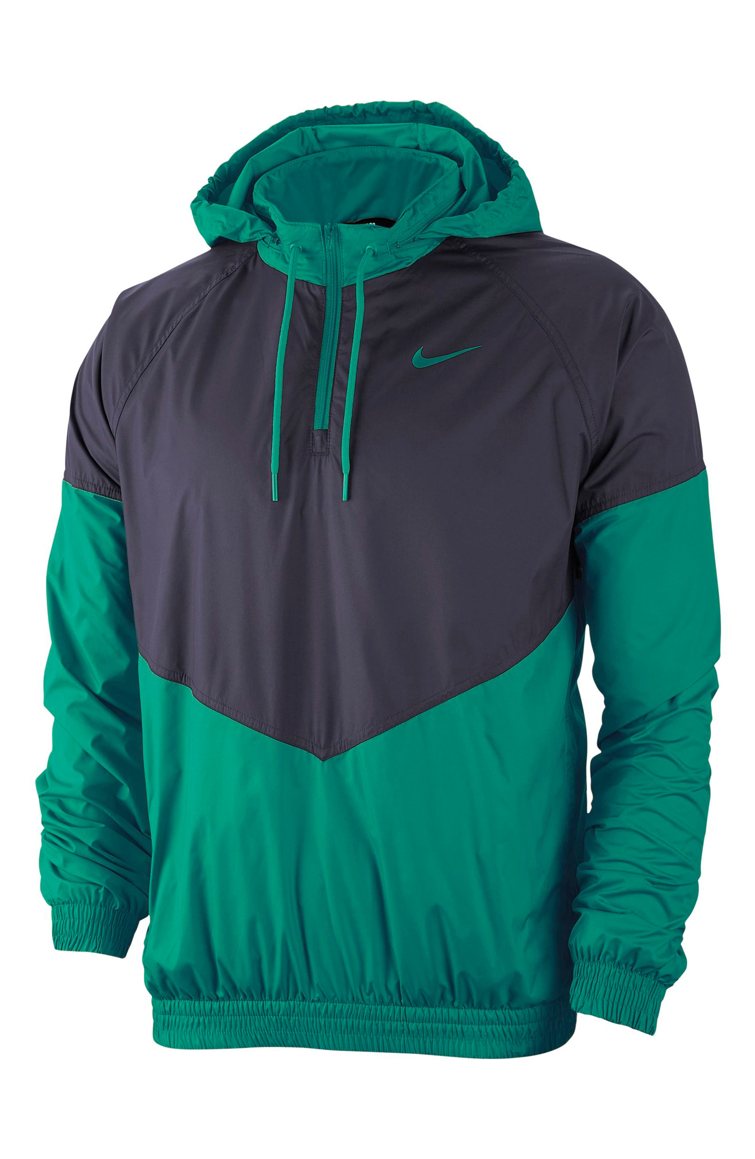 Don\'t let the weather keep you from getting after it in this windbreaker with throwback color-block styling in Nike Shield fabric that stops the elements. Style Name: Nike Sb Shield Quarter Zip Jacket. Style Number: 5850624. Available in stores.