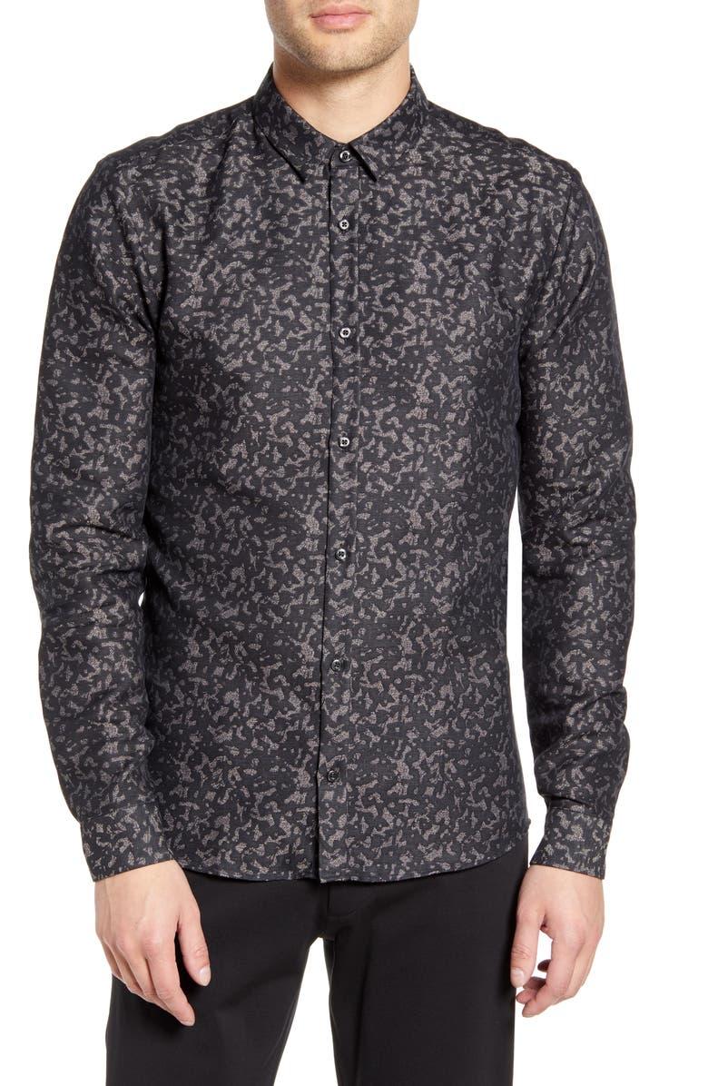 HUGO Ero Slim Fit Button-Up Shirt, Main, color, BLACK