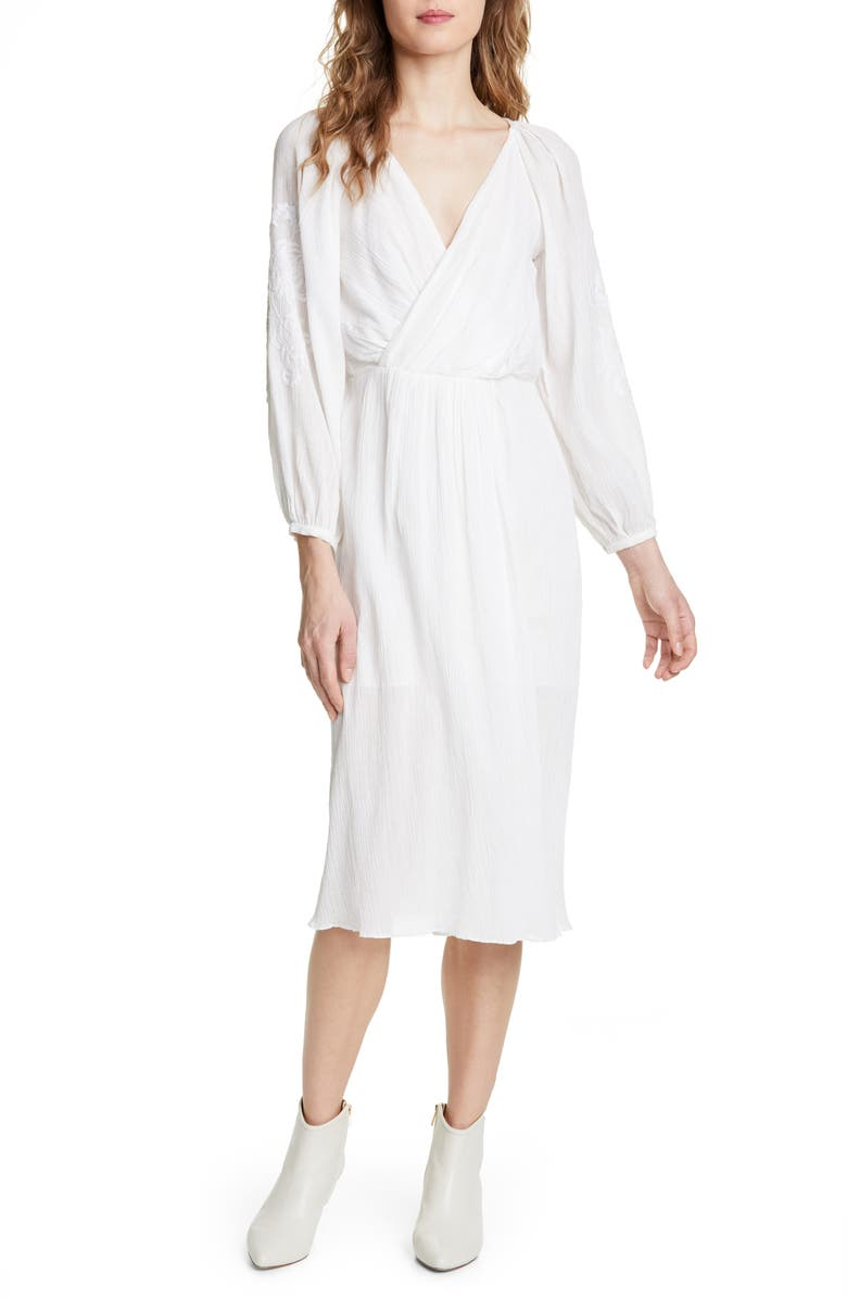 JOIE Embroidered Long Sleeve Cotton Gauze Dress, Main, color, 900