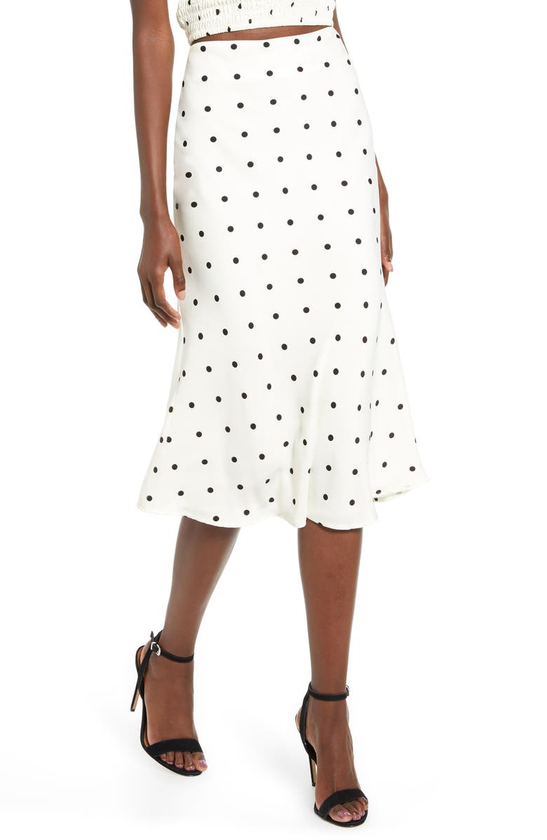 4SI3NNA Valeria Print Skirt, Main, color, IVORY POLKA DOT