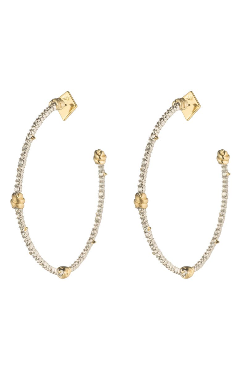 ALEXIS BITTAR Crystal Pavé Knotted Hoop Earrings, Main, color, GOLD/ SILVER