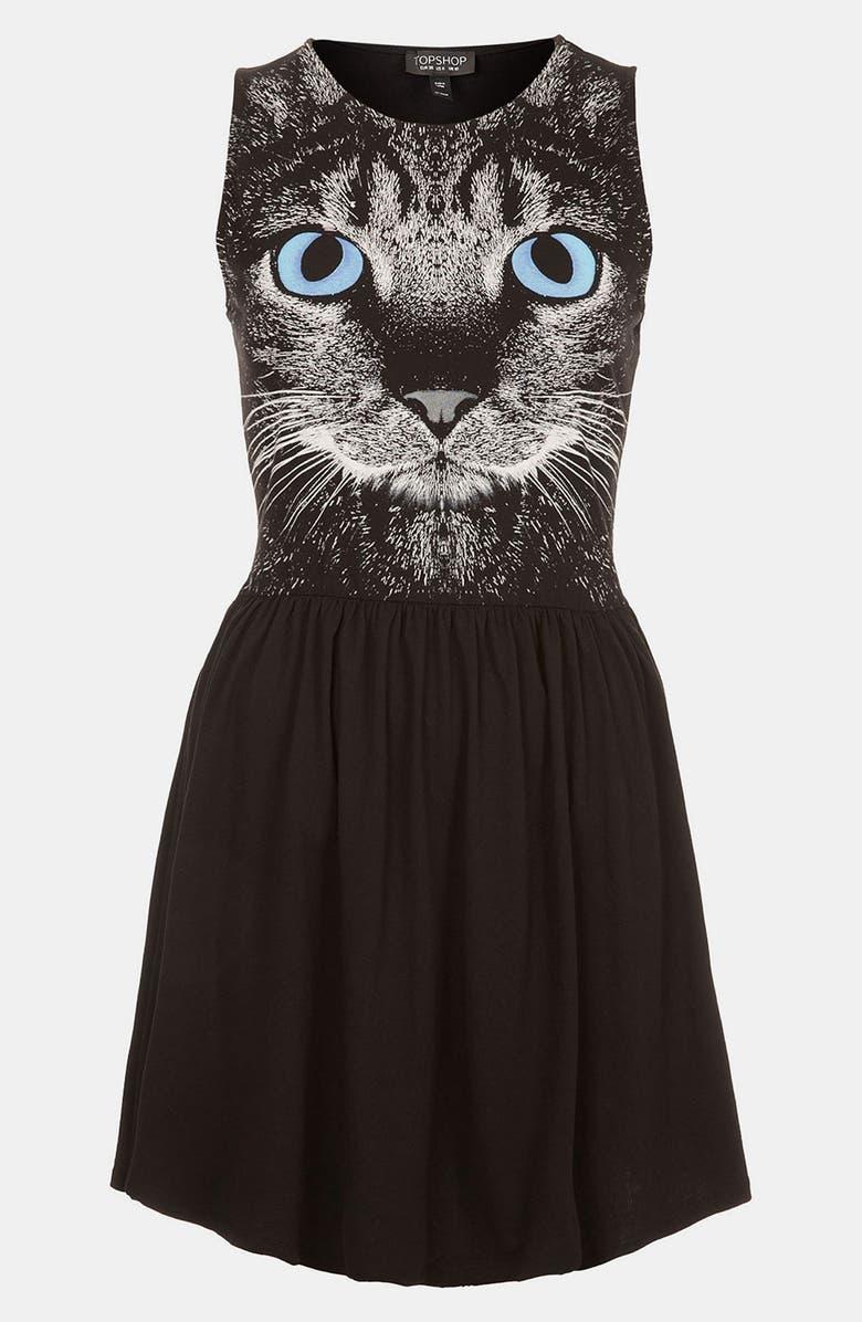 TOPSHOP Cat Graphic Skater Dress, Main, color, 001
