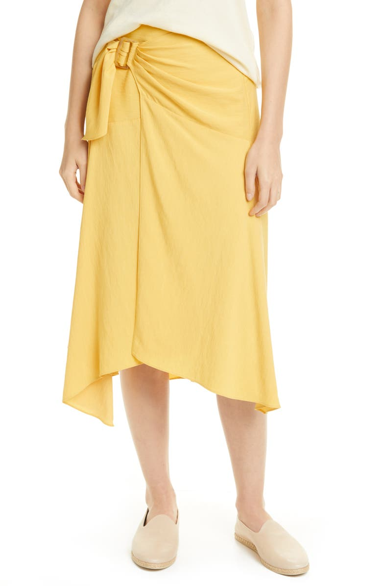 VINCE Side Buckle Drape Skirt, Main, color, LEMON GLAZE