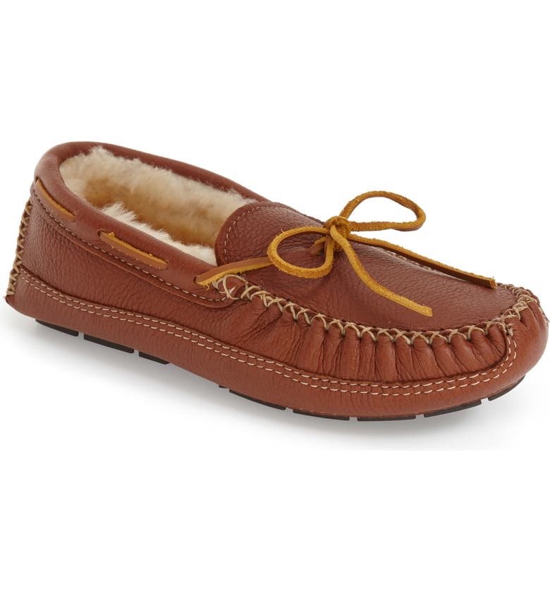 MINNETONKA Genuine Shearling Leather Slipper, Main, color, CARMEL