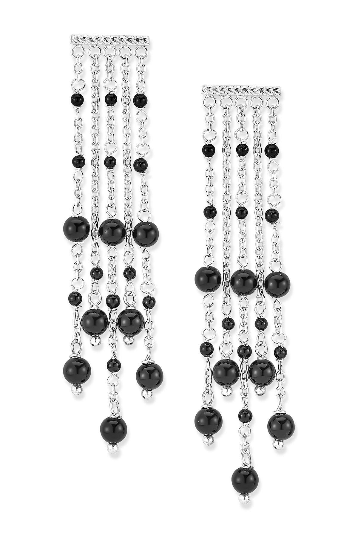 Image of Samuel B Jewelry Sterling Silver Black Onyx Chandelier Drop Earrings