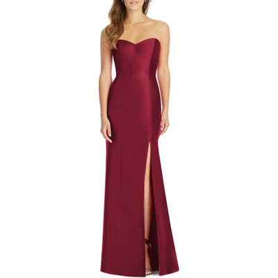 Plus Size Alfred Sung Sateen Twill Strapless Trumpet Gown, Burgundy
