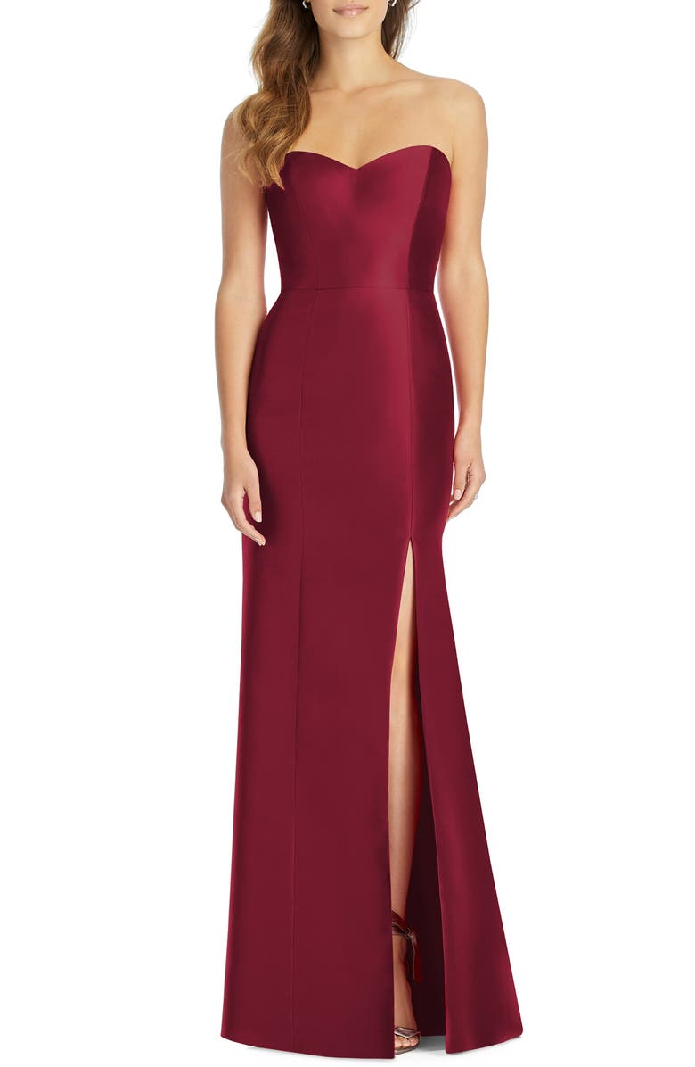 ALFRED SUNG Strapless Satin Trumpet Gown, Main, color, BURGUNDY