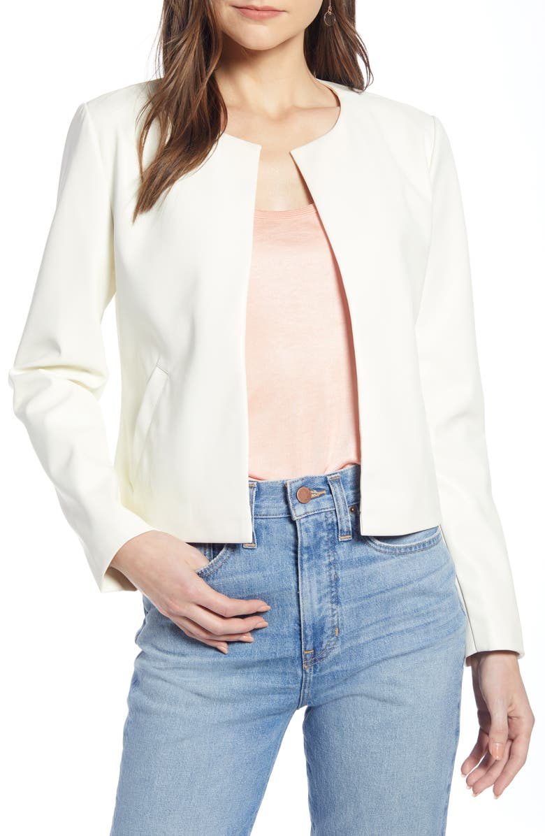 SOMETHING NAVY Collarless Faux Leather Jacket, Main, color, 900