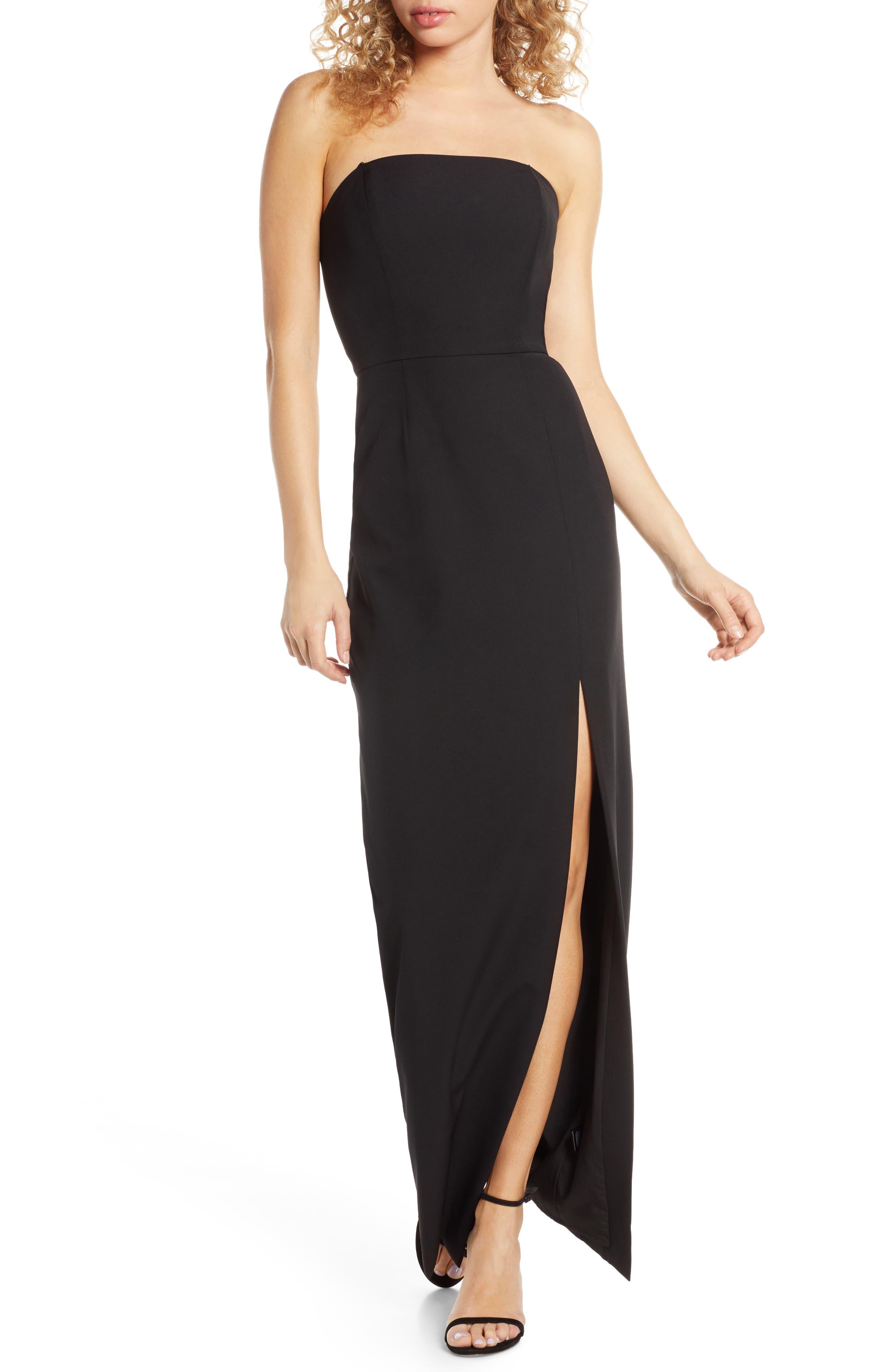 Wayf The Mila Strapless Slit Column Gown, Black