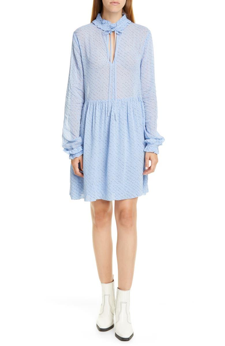 GANNI Long Sleeve Floral Diagonal Stripe Georgette Dress, Main, color, FOREVER BLUE