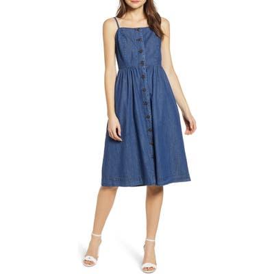 Vero Moda Flavia Button Front Chambray Sundress, Blue