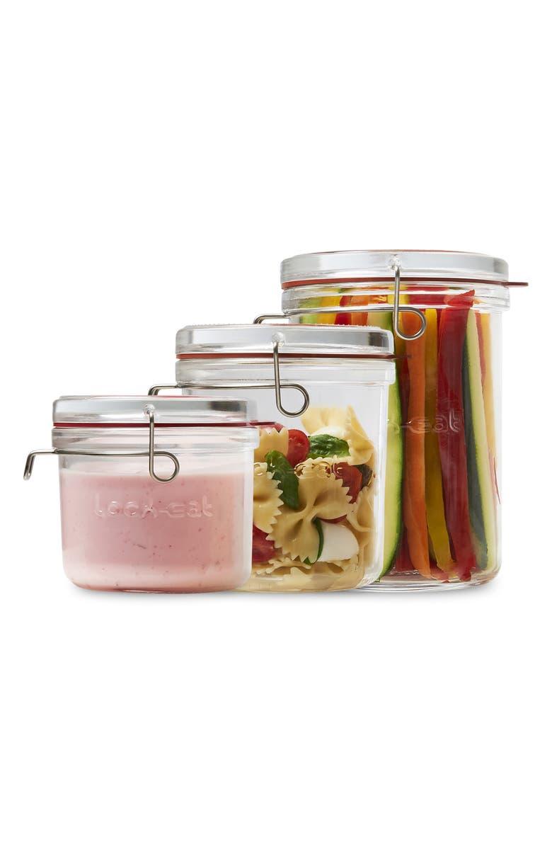 LUIGI BORMIOLI Lock Eat 3-Piece Sealed Storage Container Set, Main, color, CLEAR