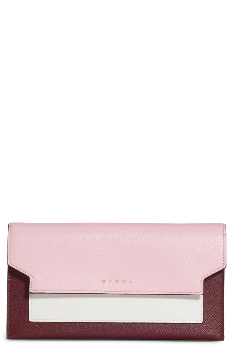 MARNI Trunk Leather Crossbody Wallet, Main, color, CINDER ROSE/ LIMESTONE/ RUBY