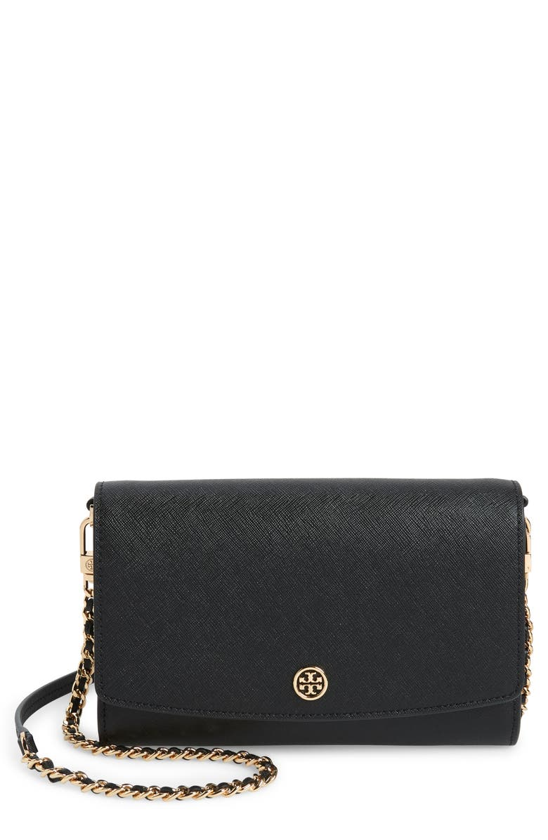 TORY BURCH Robinson Leather Wallet on a Chain, Main, color, BLACK
