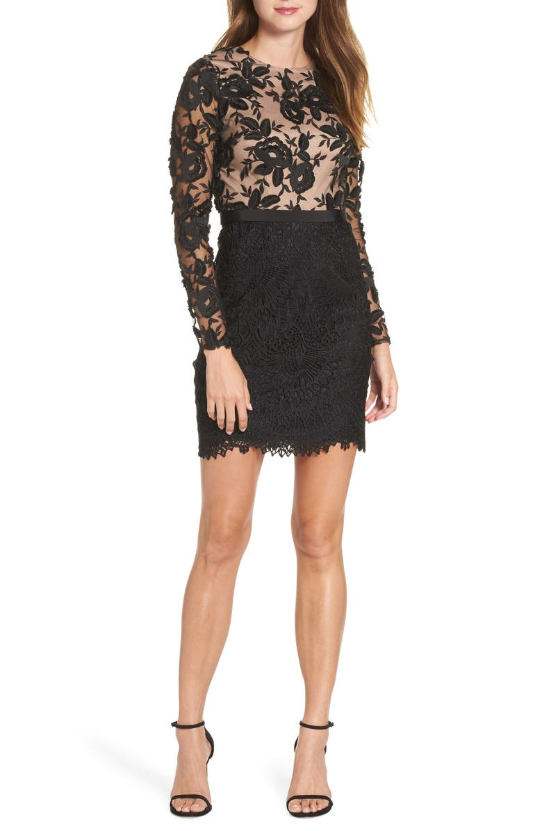 ML MONIQUE LHUILLIER Calypso Lace Sheath Dress, Main, color, BLACK/ NUDE
