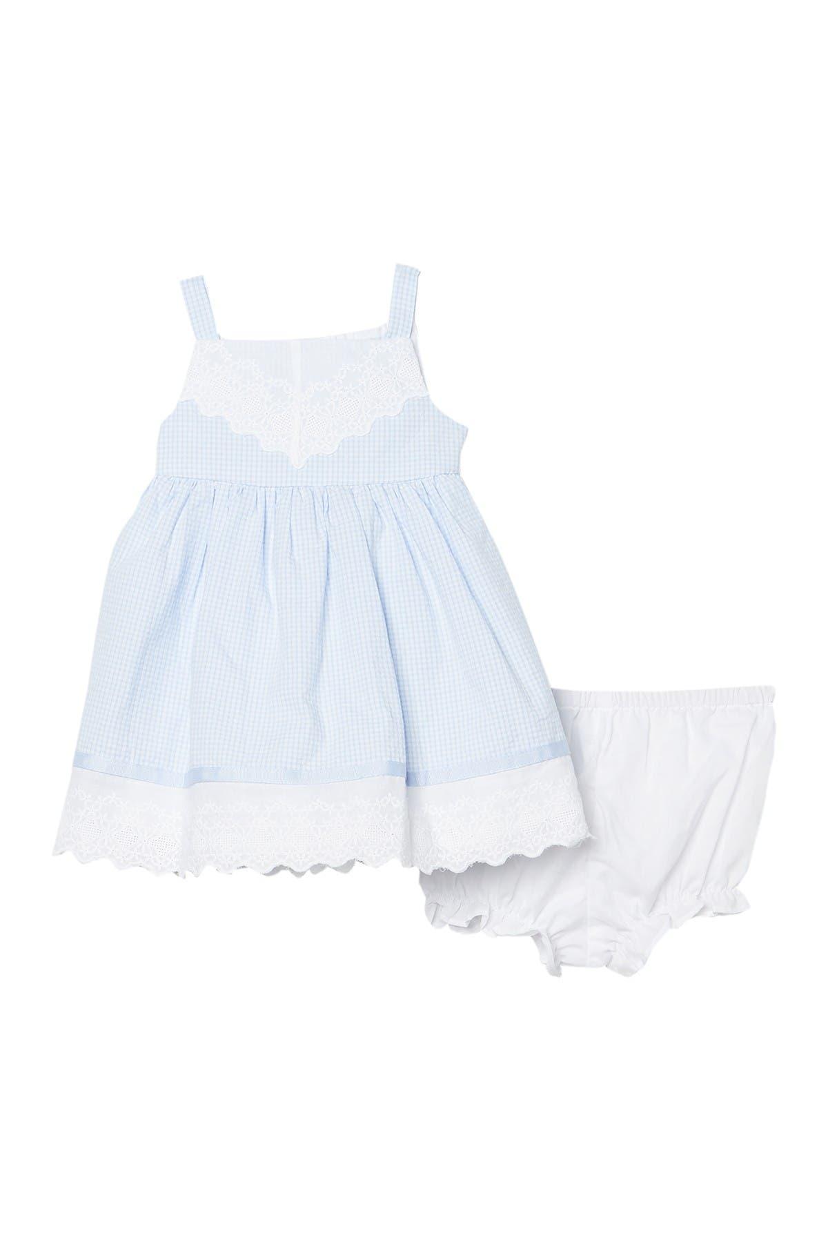 Image of Pippa & Julie Gingham Seersucker 2-Piece Dress & Bloomers Set