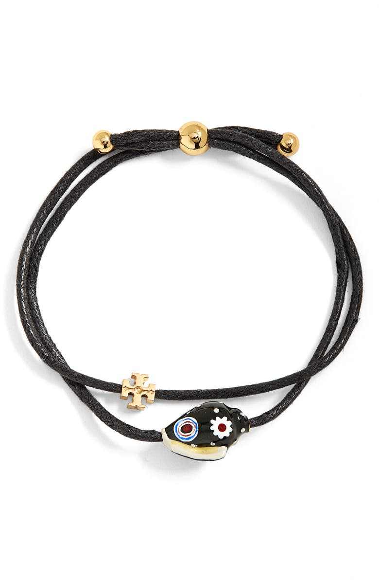 TORY BURCH Shell Layered Bracelet, Main, color, TORY GOLD / BLACK / MULTI