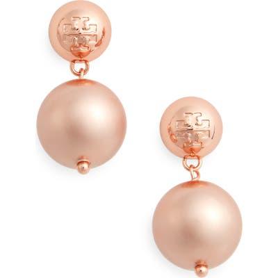Tory Burch Logo Faux Pearl Drop Earrings
