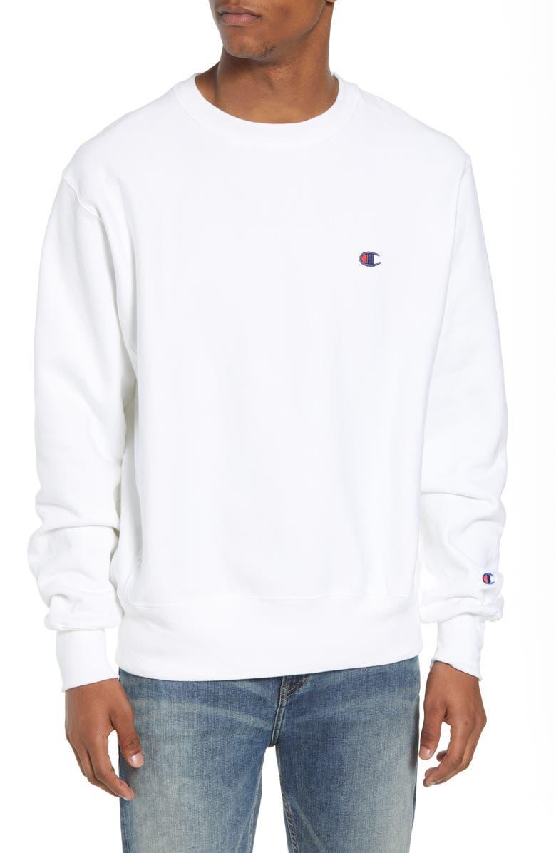CHAMPION Reverse Weave<sup>®</sup> Crew Sweatshirt, Main, color, WHITE