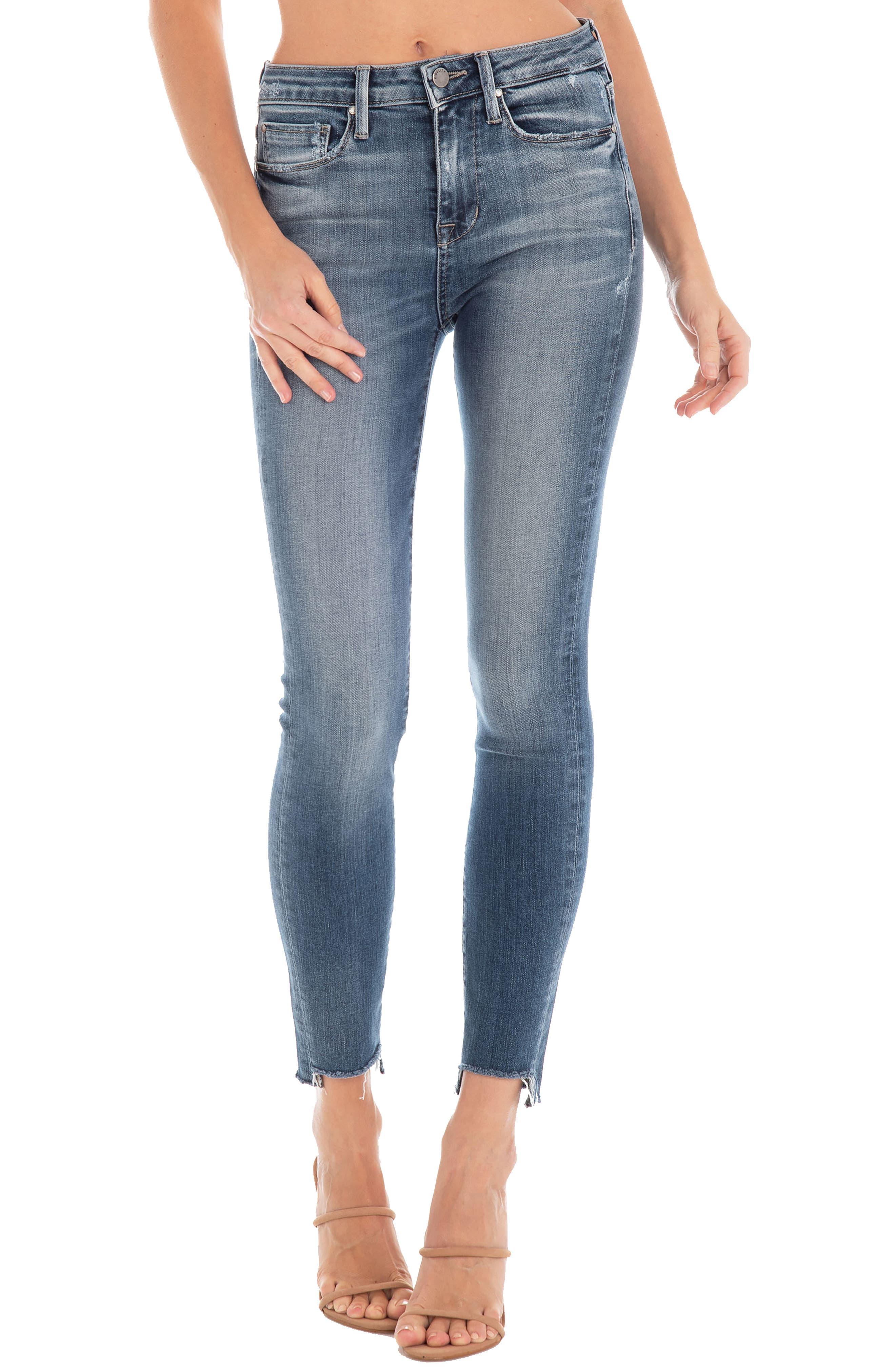Image of FIDELITY DENIM Gwen Hi-Lo Undone Hem Skinny Jeans