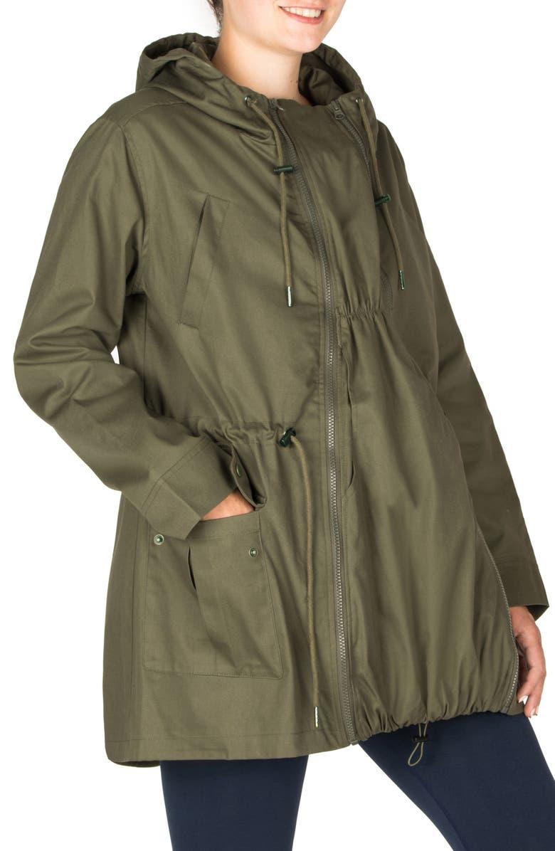 MODERN ETERNITY Convertible Military 3-in-1 Maternity/Nursing Jacket, Main, color, KHAKI GREEN