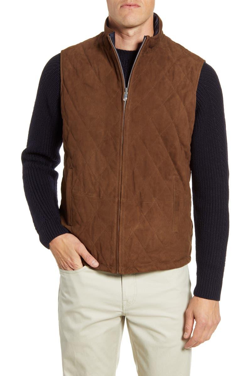 PETER MILLAR Reversible Suede Vest, Main, color, CHOCOLATE
