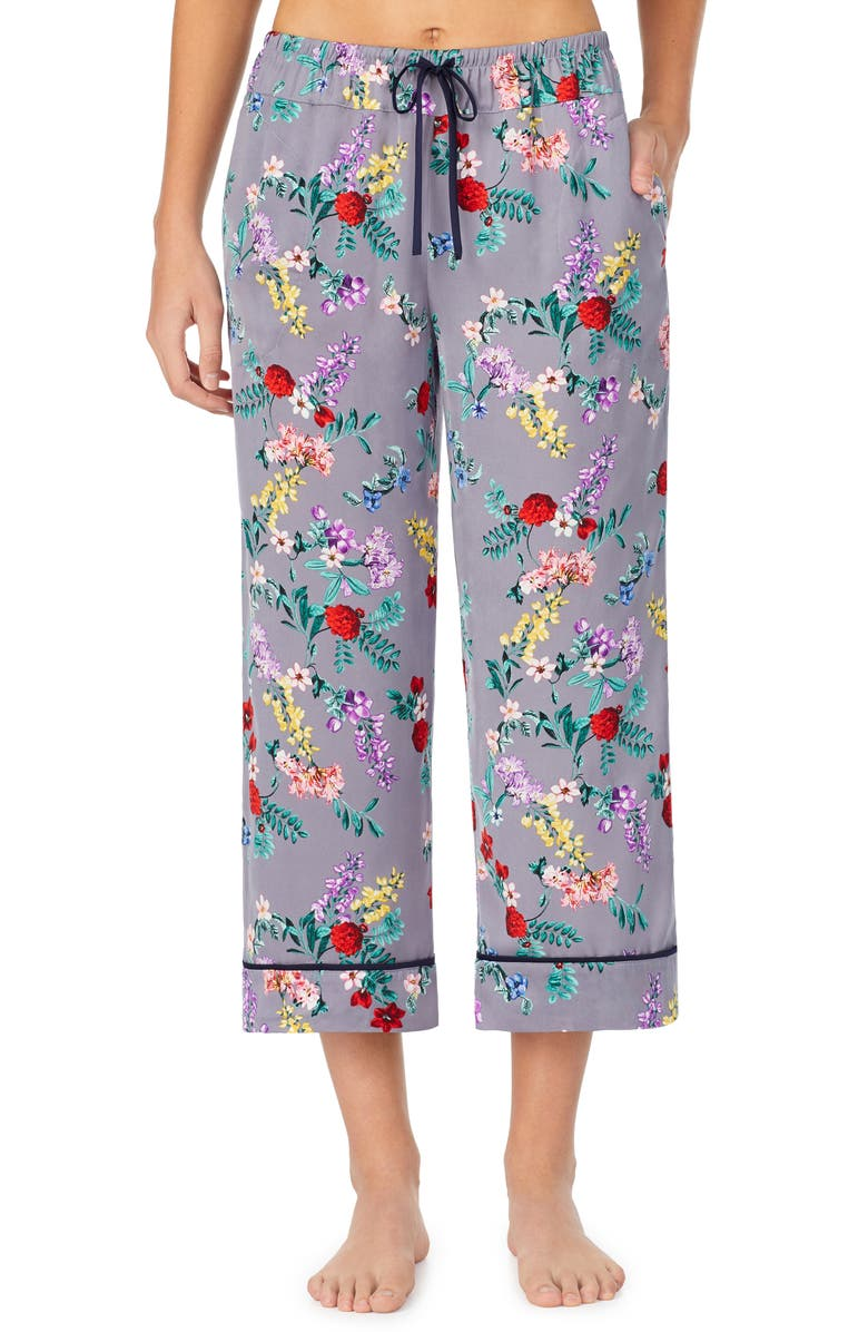 ROOM SERVICE Cropped Pajamas Pants, Main, color, GREY FLORAL
