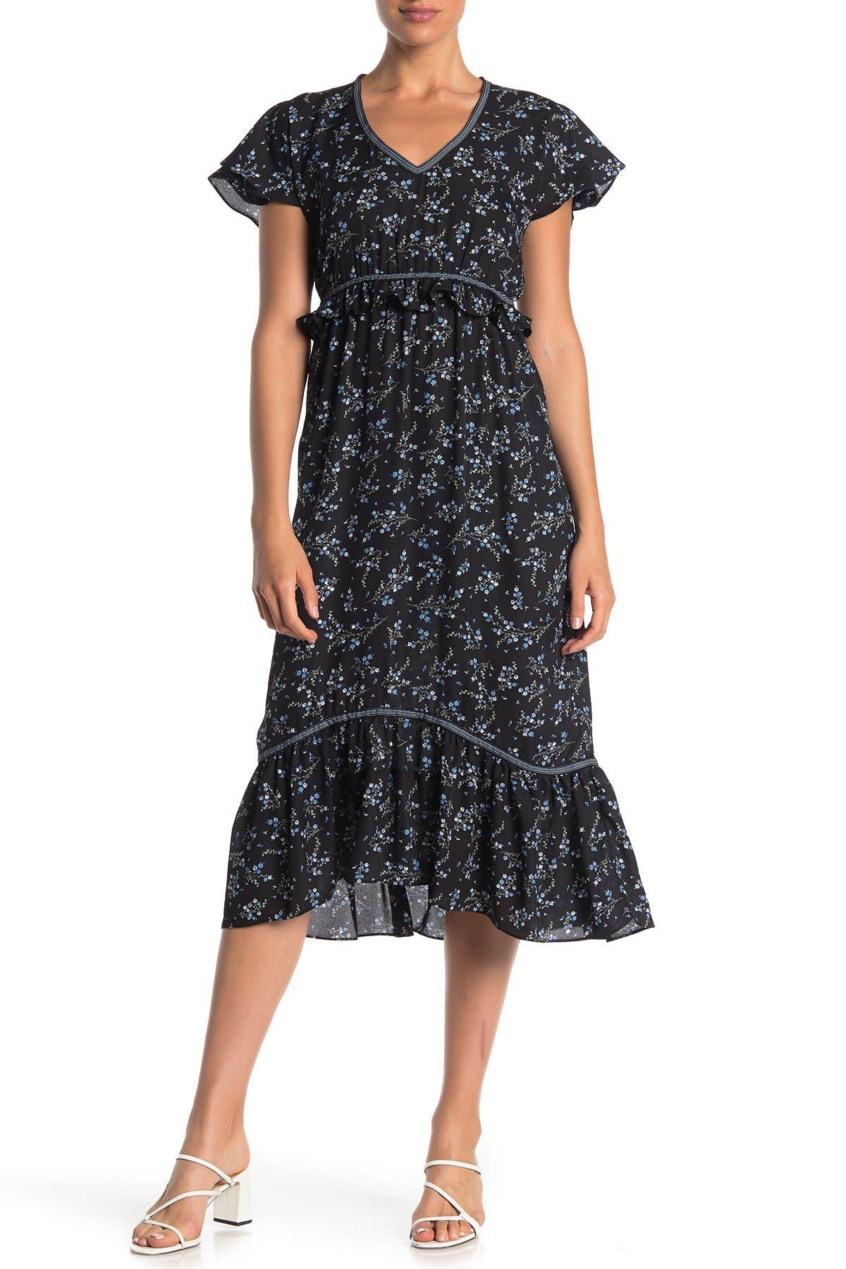 Image of Max Studio Floral V-Neck Flutter Sleeve Midi Dress