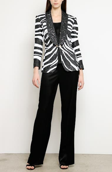 Sequin Zebra Jacquard Knit Jacket, video thumbnail