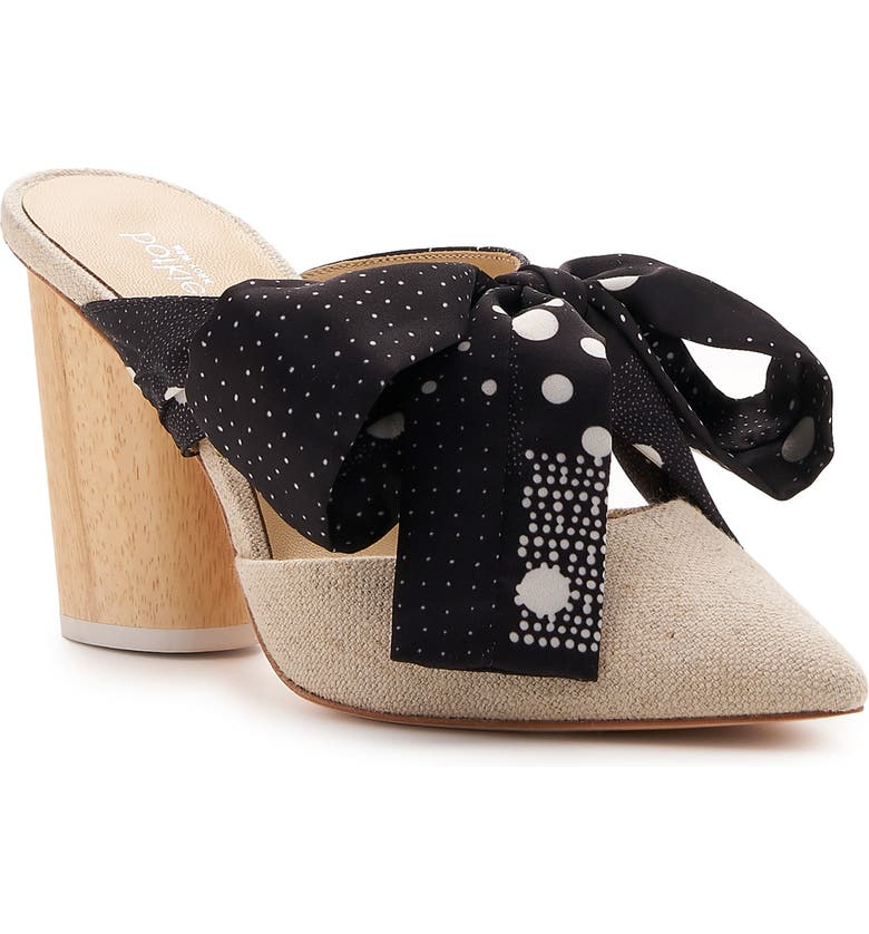 BOTKIER Hampton Bow Pointy Toe Mule, Main, color, BLACK DOT SUEDE