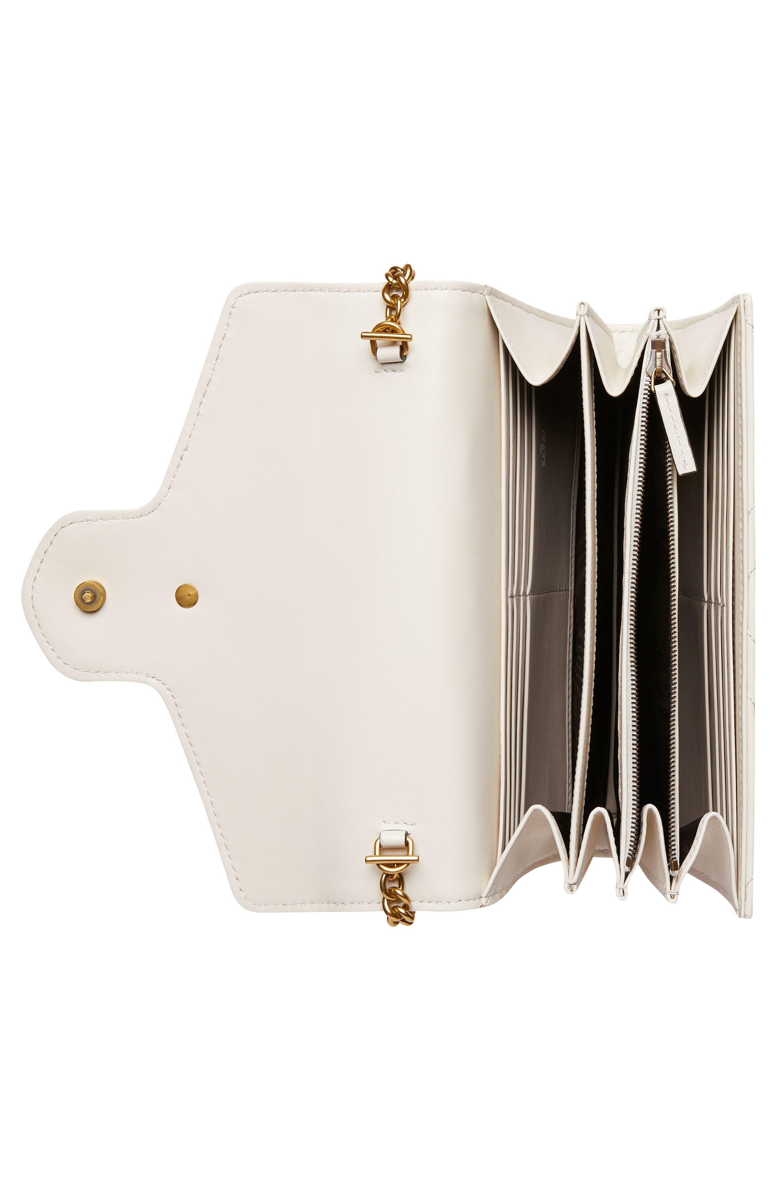 ,                             GG Marmont Matelassé Leather Wallet on a Chain,                             Alternate thumbnail 3, color,                             MYSTIC WHITE/ MYSTIC WHITE