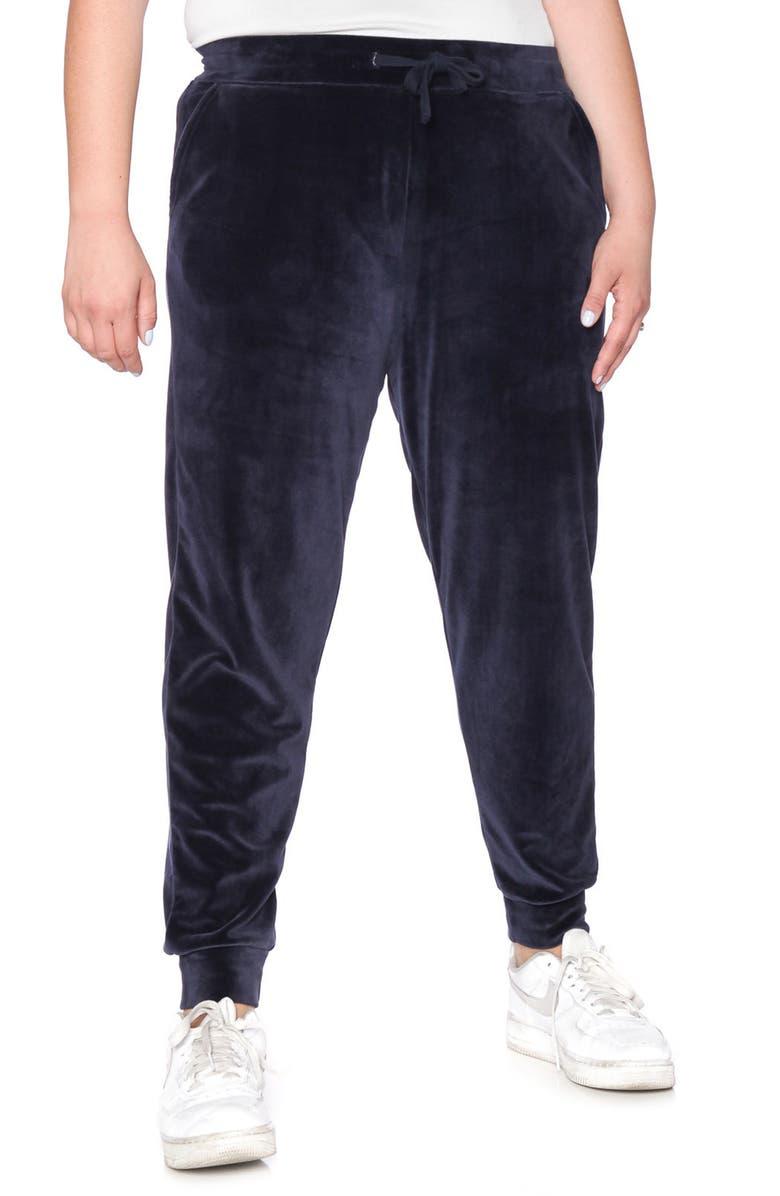 SLINK JEANS Velour Jogger Pants, Main, color, NAVY