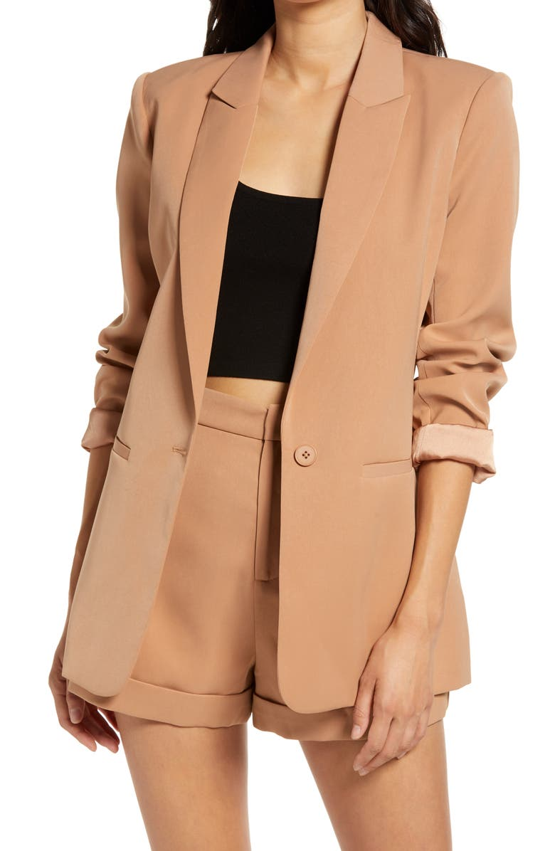 ENDLESS ROSE Tailored Single Button Blazer, Main, color, TAN
