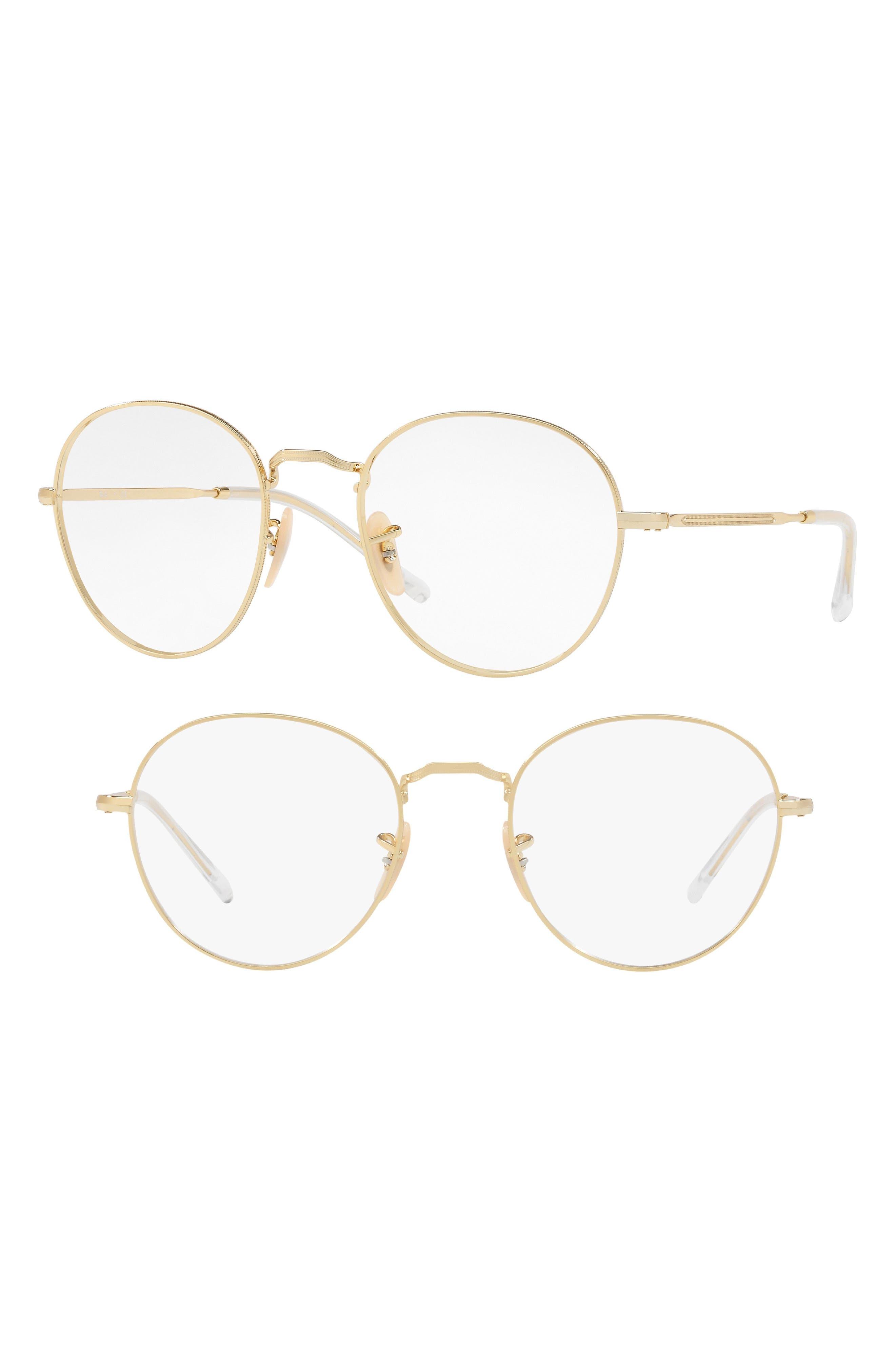 1940s Sunglasses, Glasses & Eyeglasses History Womens Ray-Ban 49mm Round Optical Glasses - Gold $168.00 AT vintagedancer.com