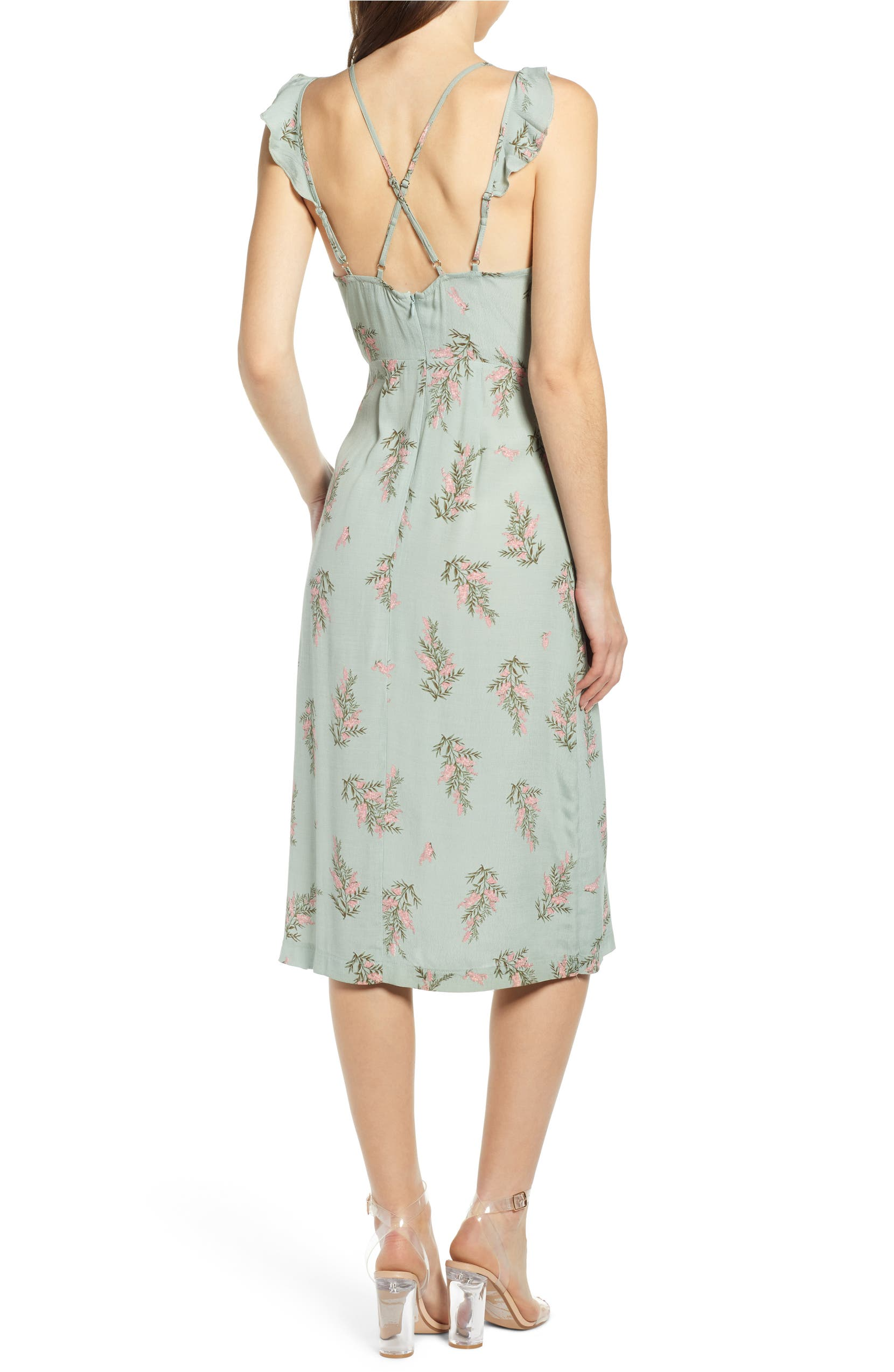 d09b2dc89f97c Dual Strap Floral Wrap Midi Dress