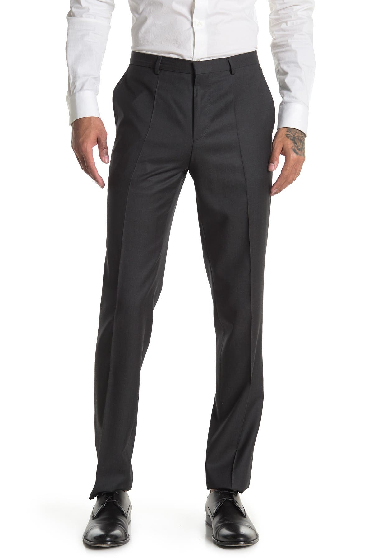 Image of BOSS Charcoal Solid Wool Pants