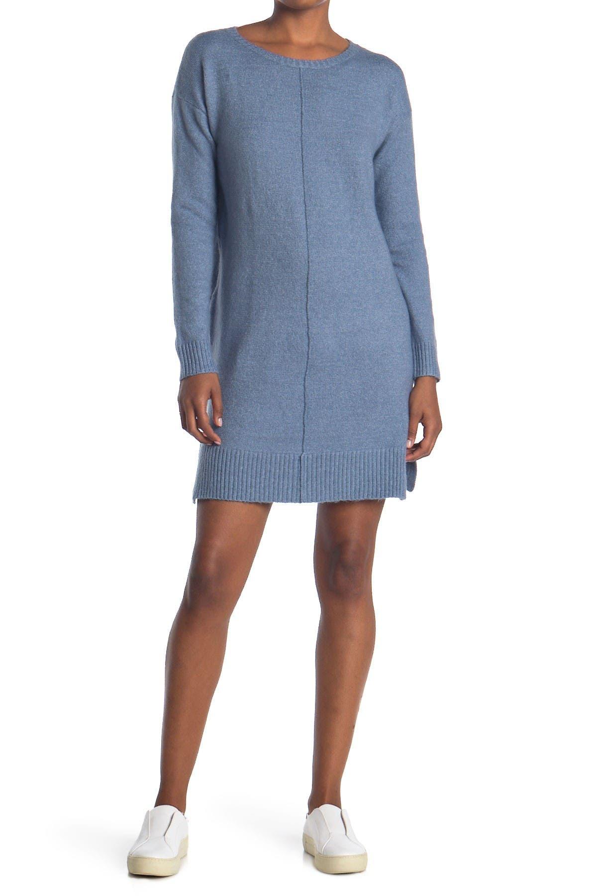 Image of STITCHDROP Center Seam Side Slit Sweater Dress