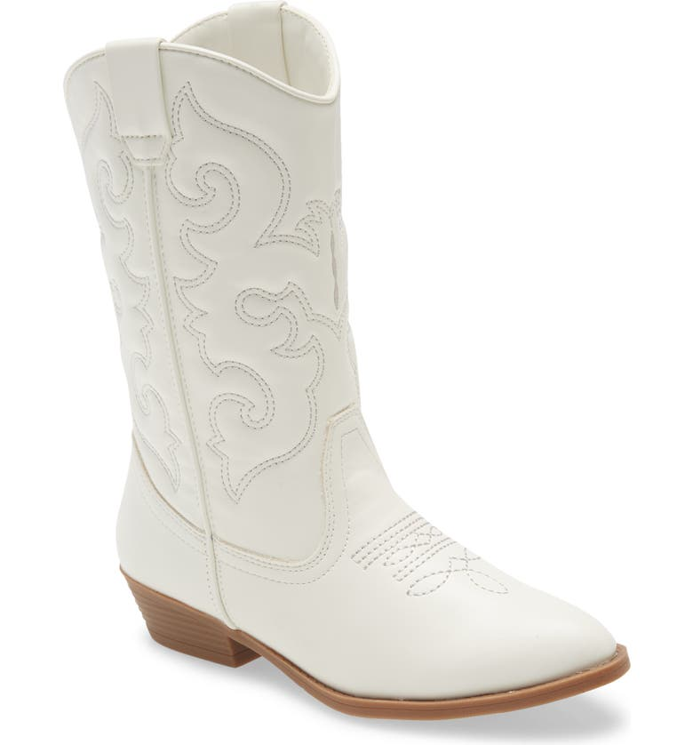 TUCKER + TATE Cowboy Boot, Main, color, WHITE FAUX LEATHER