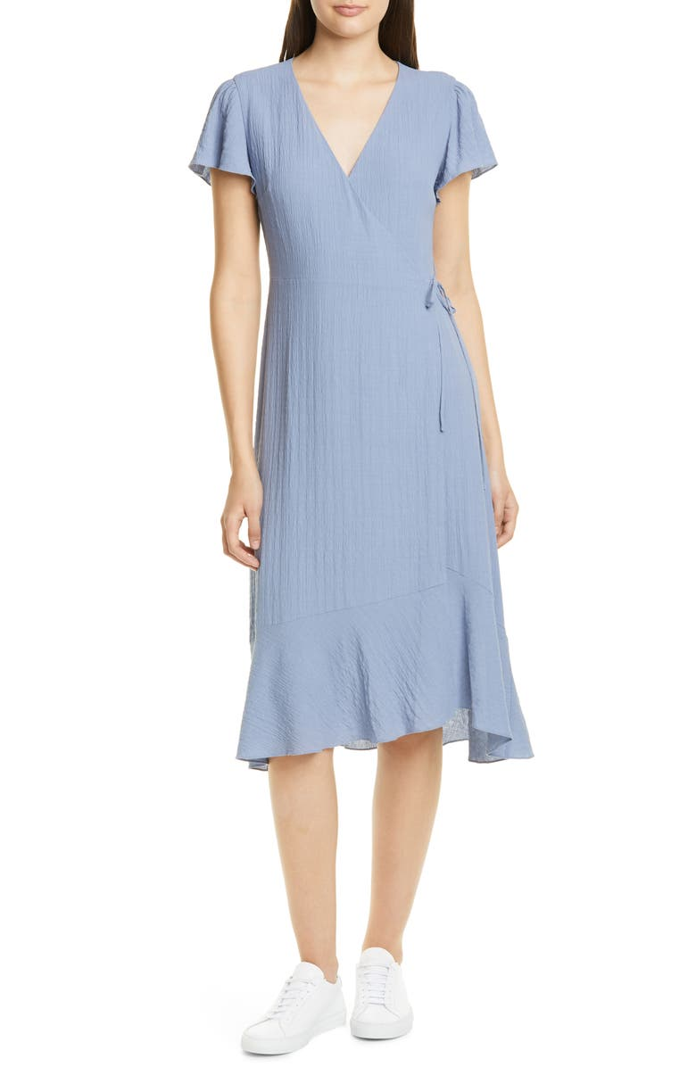 NORDSTROM SIGNATURE Flutter Sleeve Wrap Dress, Main, color, BLUE STONEWASH