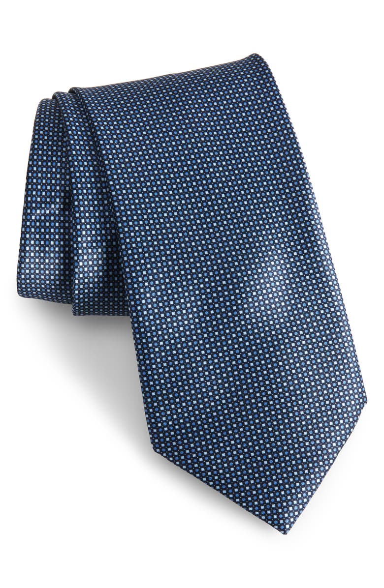 BRIONI Microgeo Grid Silk Tie, Main, color, SKY BLUE