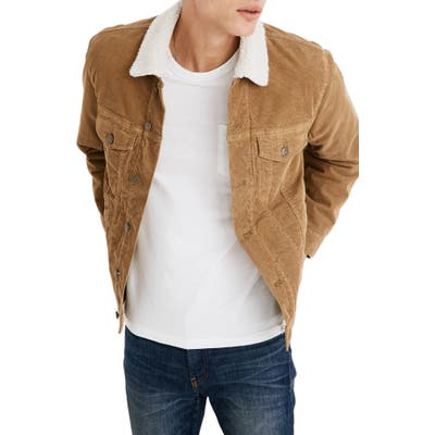 Madewell Fleece Lined Classic Jean Jacket Corduroy Edition, Beige
