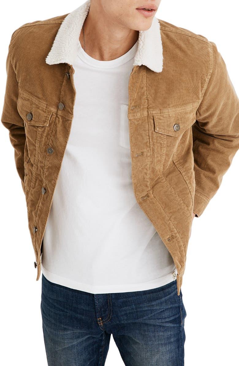 MADEWELL Fleece Lined Classic Jean Jacket Corduroy Edition, Main, color, 280