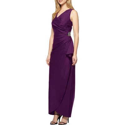 Petite Alex Evenings Embellished Side Drape Column Gown, Purple