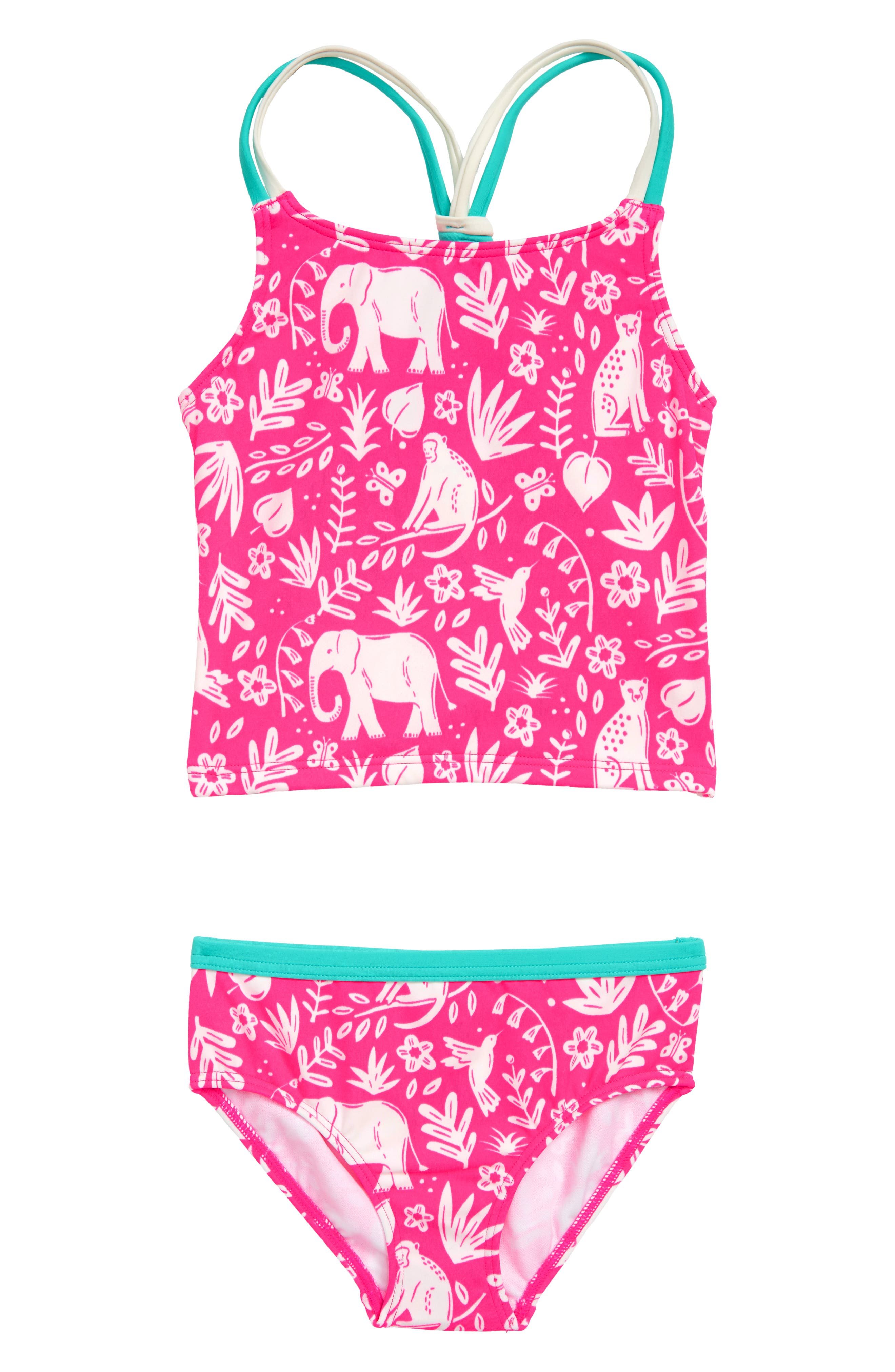 Knot-Back Tankini Two-Piece Swimsuit, Main, color, PNK PINK GLO INDIAN GARDEN