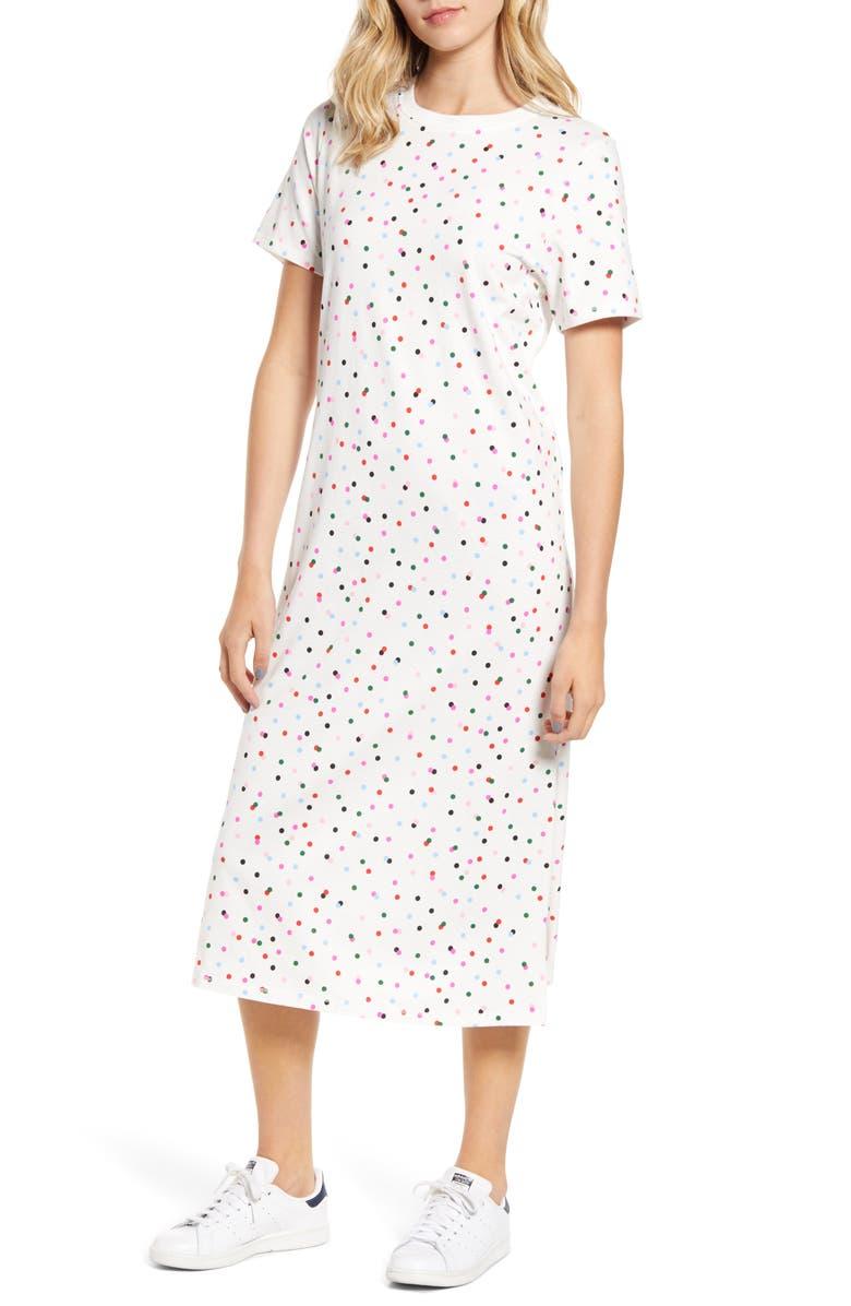 BAN.DO Party Dots T-Shirt Midi Dress, Main, color, IVORY