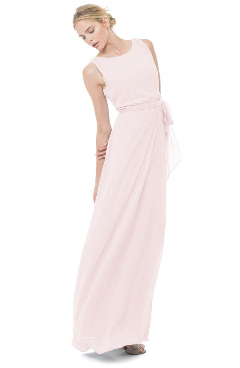 JOANNA AUGUST Tina Tie Back Chiffon Gown, Main, color, 680