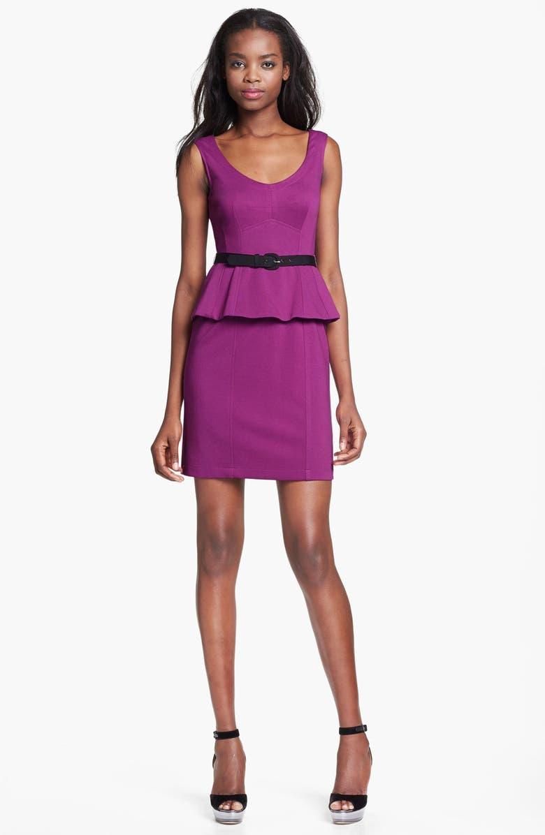 NANETTE LEPORE 'Popcorn' Belted Stretch Sheath Dress, Main, color, 515